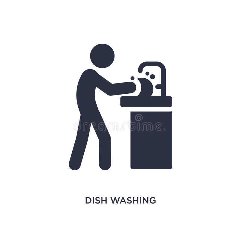 dish washing icon on white background. Simple element illustration from activity and hobbies concept vector illustration