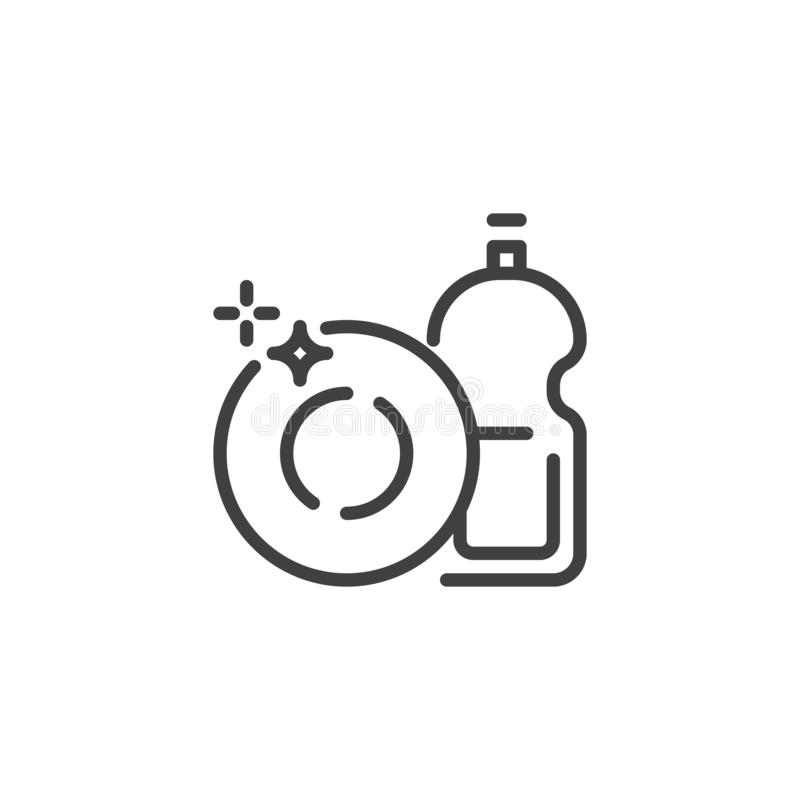 Dish washing liquid soap line icon royalty free illustration