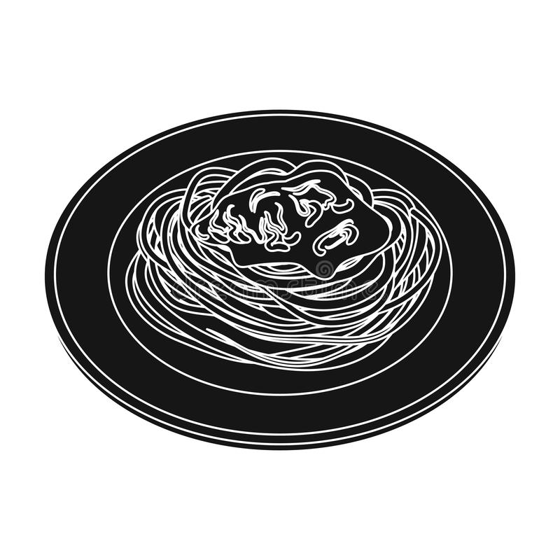 The dish in which wheat spaghetti with red sauce.Main dish vegetarian.Vegetarian Dishes single icon in black style royalty free illustration