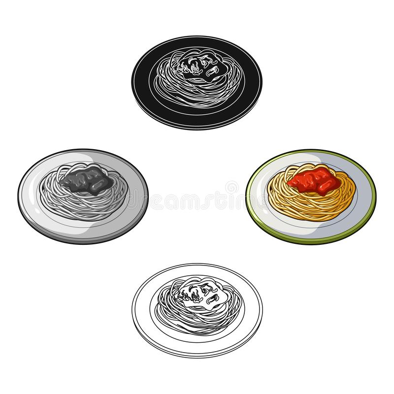 The dish in which wheat spaghetti with red sauce.Main dish vegetarian.Vegetarian Dishes single icon in cartoon,black. Style vector symbol stock web illustration vector illustration