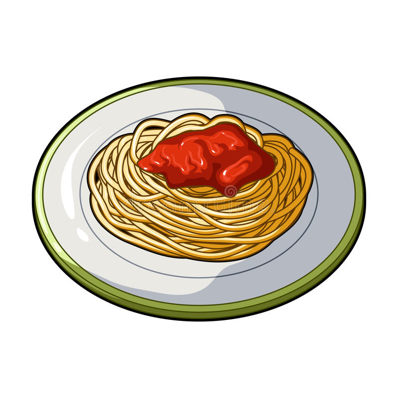 The dish in which wheat spaghetti with red sauce.Main dish vegetarian.Vegetarian Dishes single icon in cartoon style. Vector symbol stock web illustration stock illustration
