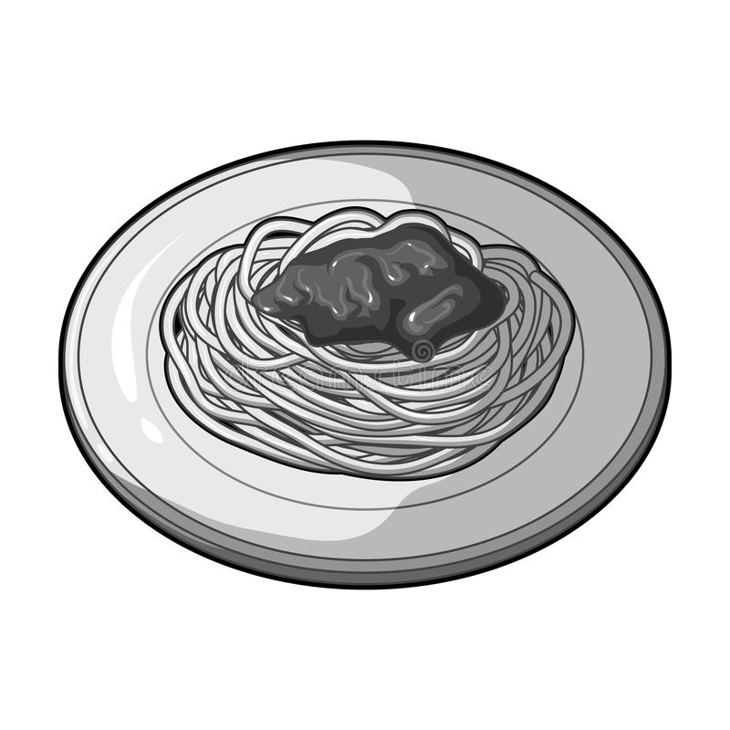 The dish in which wheat spaghetti with red sauce.Main dish vegetarian.Vegetarian Dishes single icon in monochrome style. Vector symbol stock web illustration stock illustration