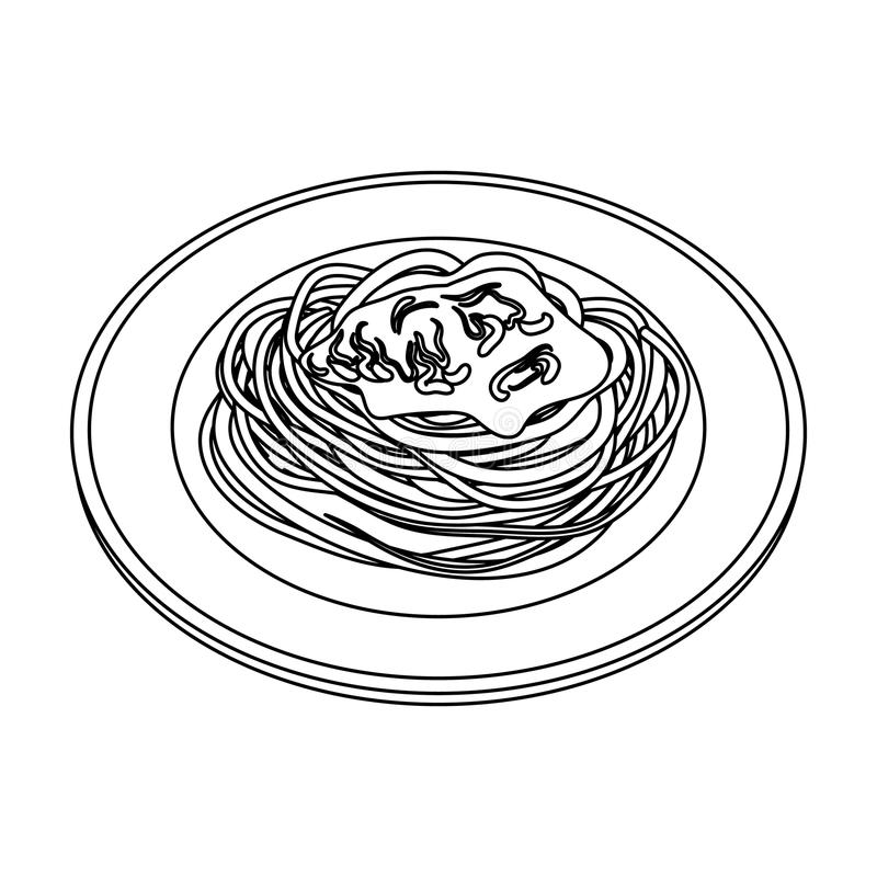 The dish in which wheat spaghetti with red sauce.Main dish vegetarian.Vegetarian Dishes single icon in outline style. Vector symbol stock web illustration stock illustration