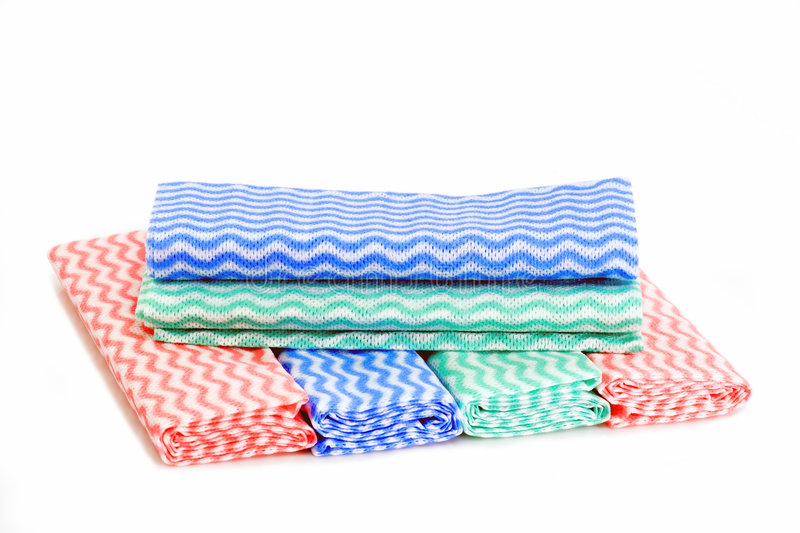 Dishcloth. Colorful dusters on white background royalty free stock photos