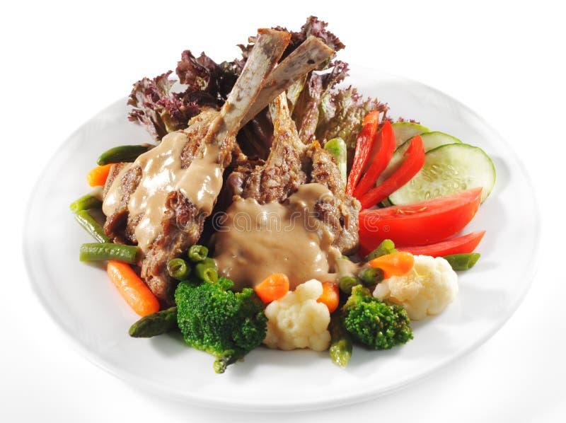 dishes горячее жаркое основной нервюры свинины мяса стоковая фотография