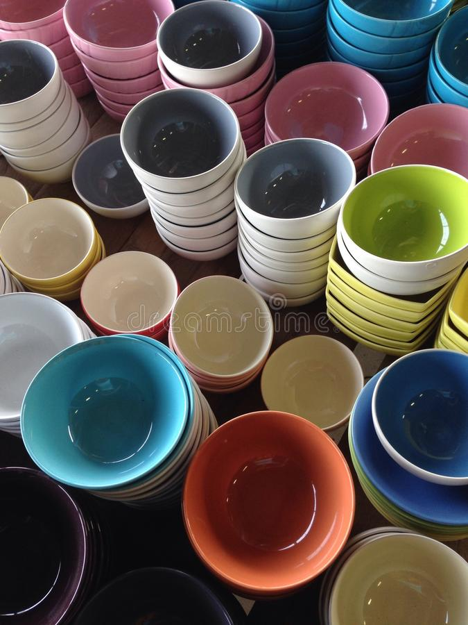 Dishes and bowl stock images