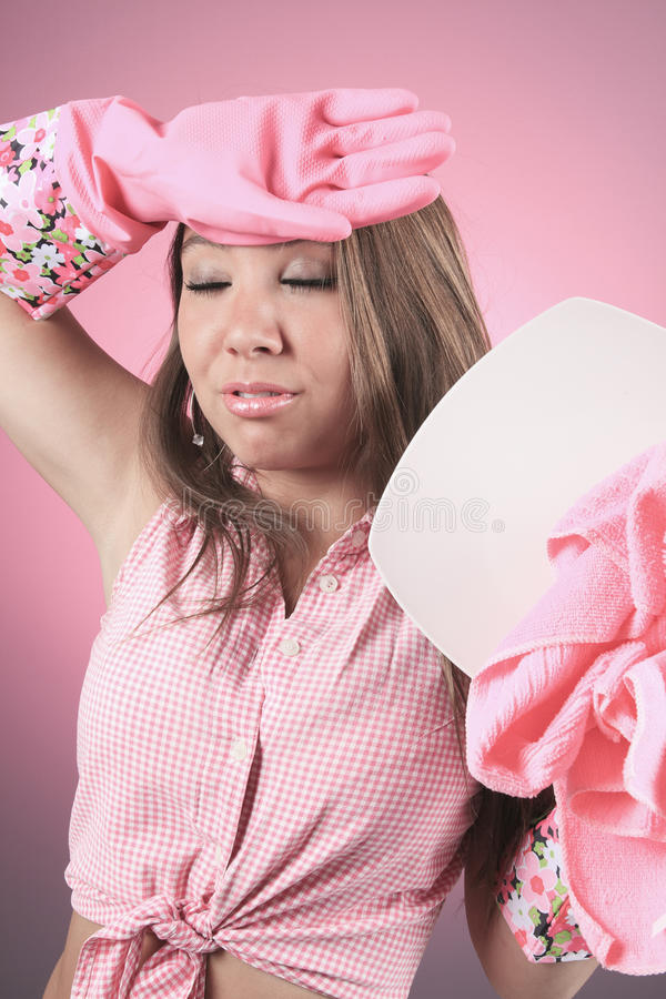 Dishes cleaning woman tier of that royalty free stock photography