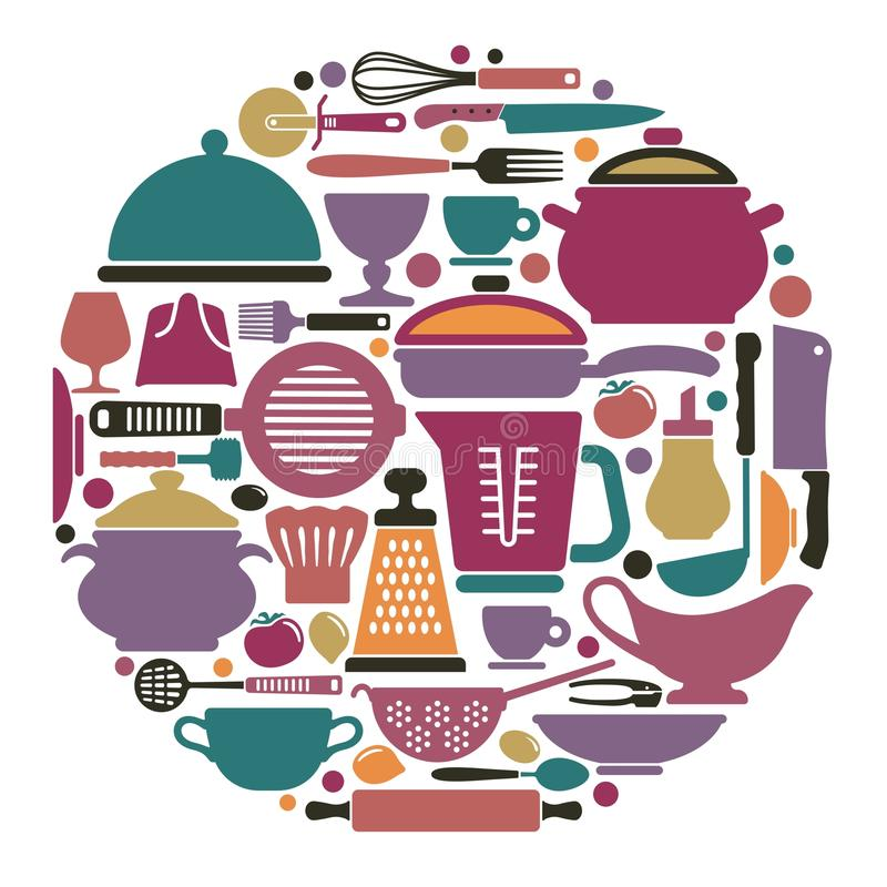 Dishes, cooking utensils and Cutlery royalty free illustration