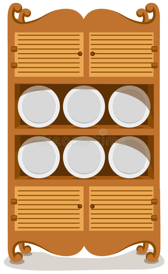 Dishes in the cupboard. Illustration of isolated dishes in the cupboard stock illustration