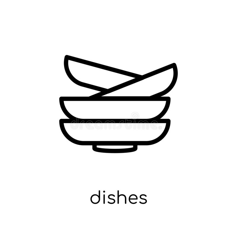 Dishes icon. Trendy modern flat linear vector Dishes icon on white background from thin line Cleaning collection stock illustration