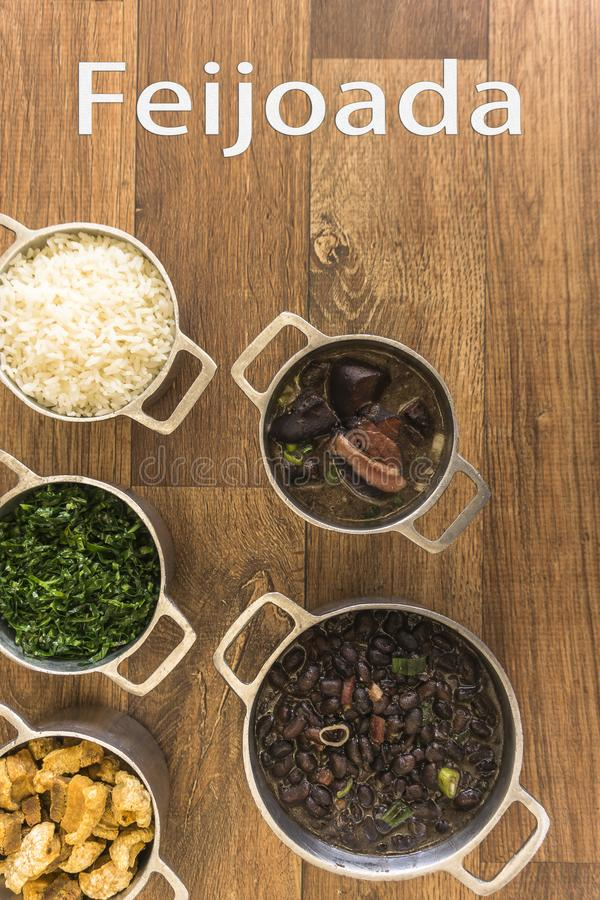 Dishes that are part of the traditional feijoada, typical Brazilian food royalty free stock photos
