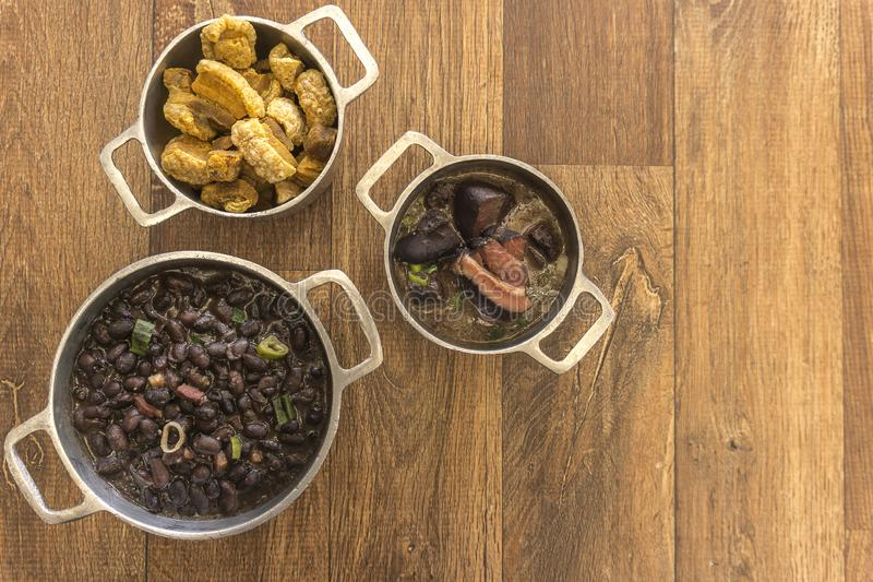 Dishes that are part of the traditional feijoada, typical Brazilian food stock photo