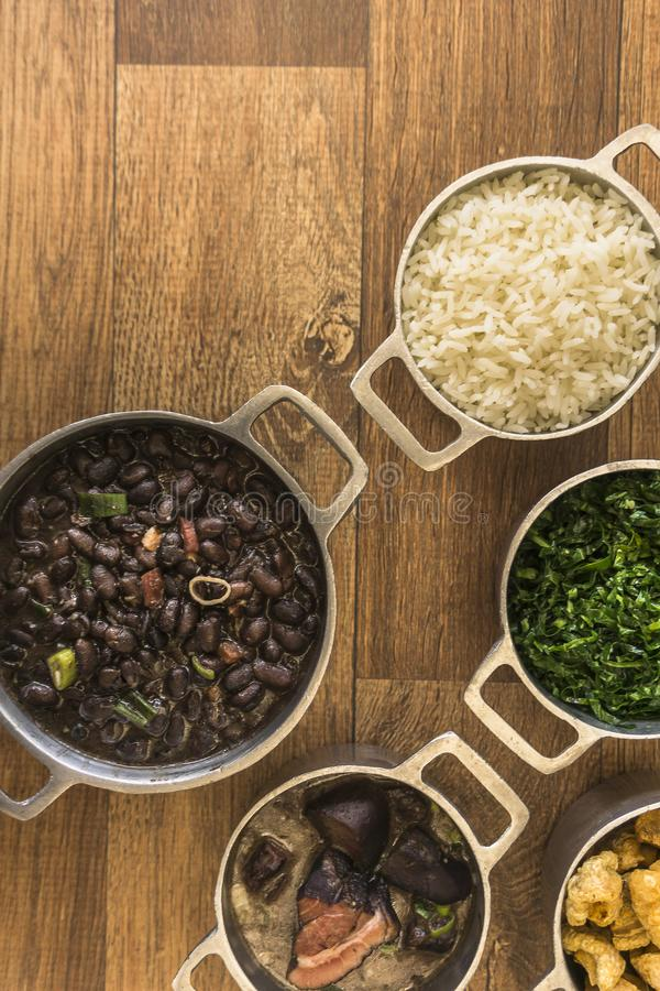 Dishes that are part of the traditional feijoada, typical Brazilian food royalty free stock photo