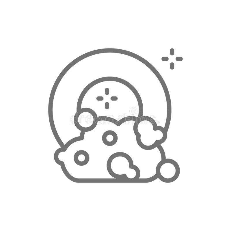 Dishes with soapy water, washing dish, dishwasher line icon. vector illustration