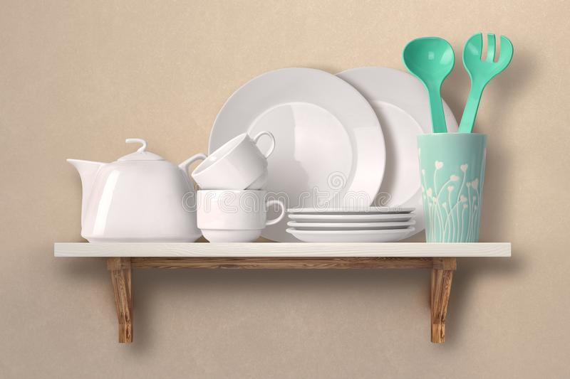 Dishes on a wooden shelf royalty free stock photography