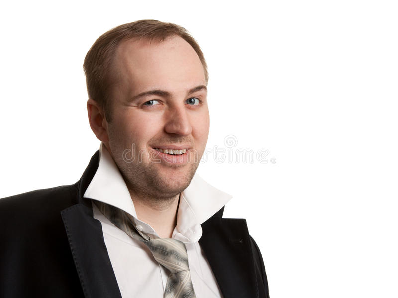 Disheveled businessman. With unleashed a tie on a white background royalty free stock photography