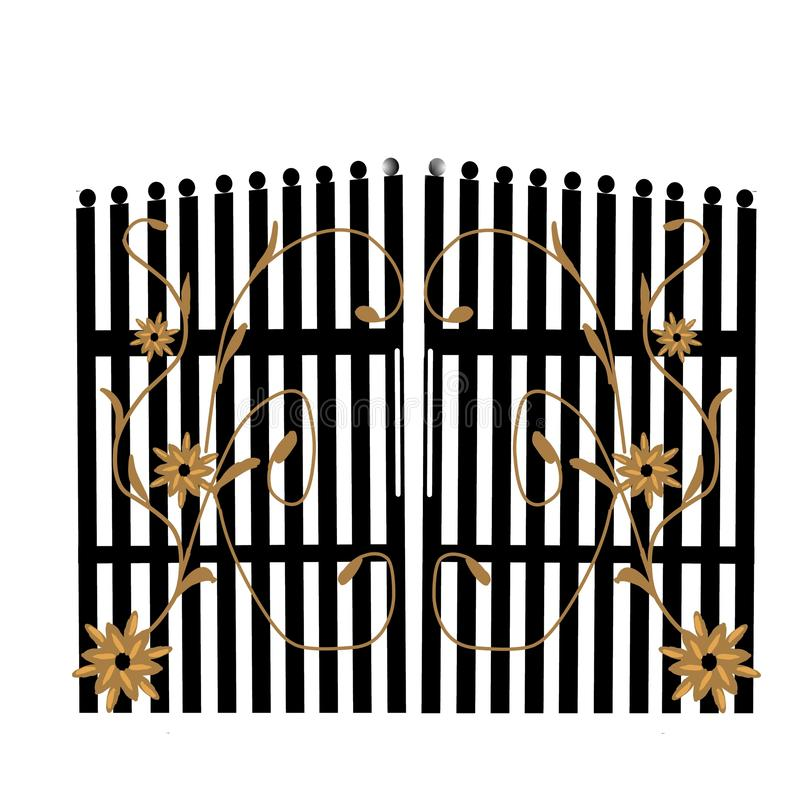Gate. Disheveled gate vector yard wall home interior royalty free illustration