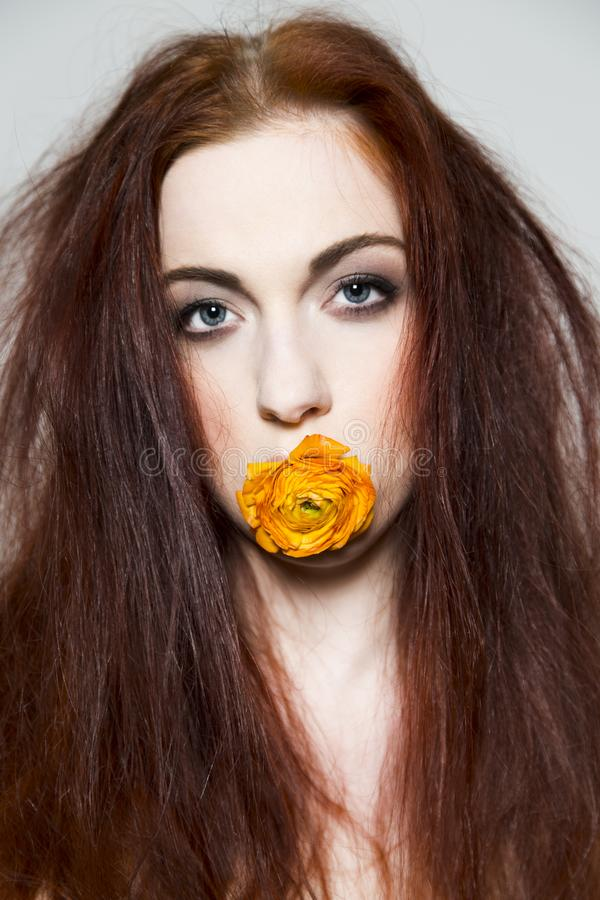 Disheveled redhead girl holds rose in her mouth. Disheveled redhead young girl holds rose in her mouth and looks into camera stock images