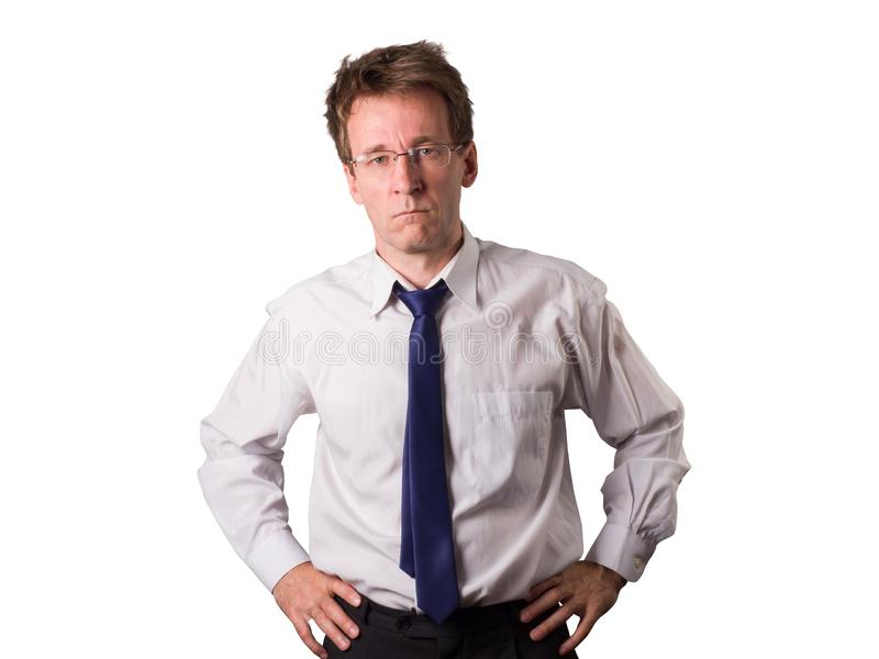 Sad disheveled guy on the verge of mental breakdown. Things are going bad. Disheveled wicked office worker. Things are going bad. Isolated. White young man stock photos