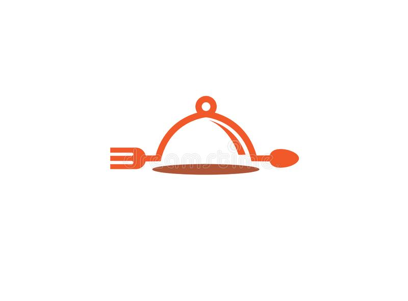Dishfood με το κουτάλι και δίκρανο για την απεικόνιση σχεδίου λογότυπων απεικόνιση αποθεμάτων
