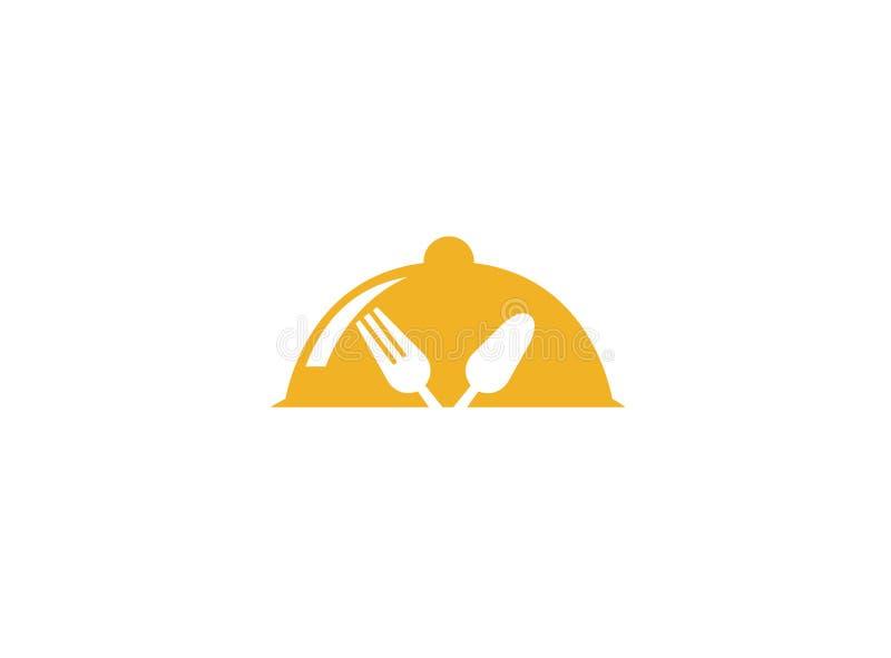 Dishfood с ложкой и вилкой для логотипа иллюстрация вектора