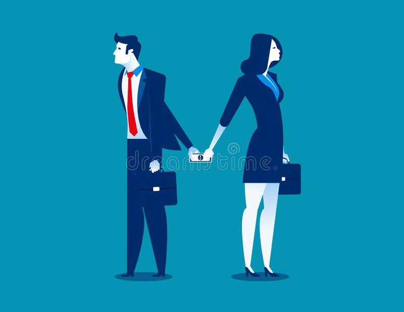 dishonesty Zakenman die geld geven aan vrouw achter rug Conce stock illustratie