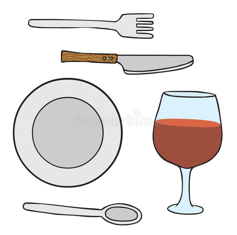 Dishware stock illustrationer