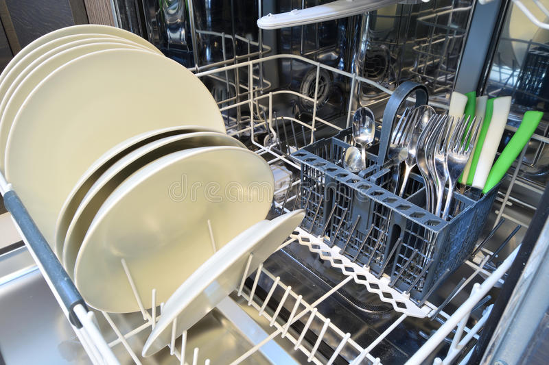 Dishware. Clean after washing in the dishwasher royalty free stock images