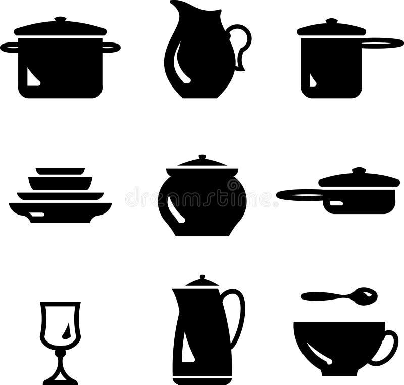 Dishware d'â d'ustensiles de cuisine (vecteur) illustration stock