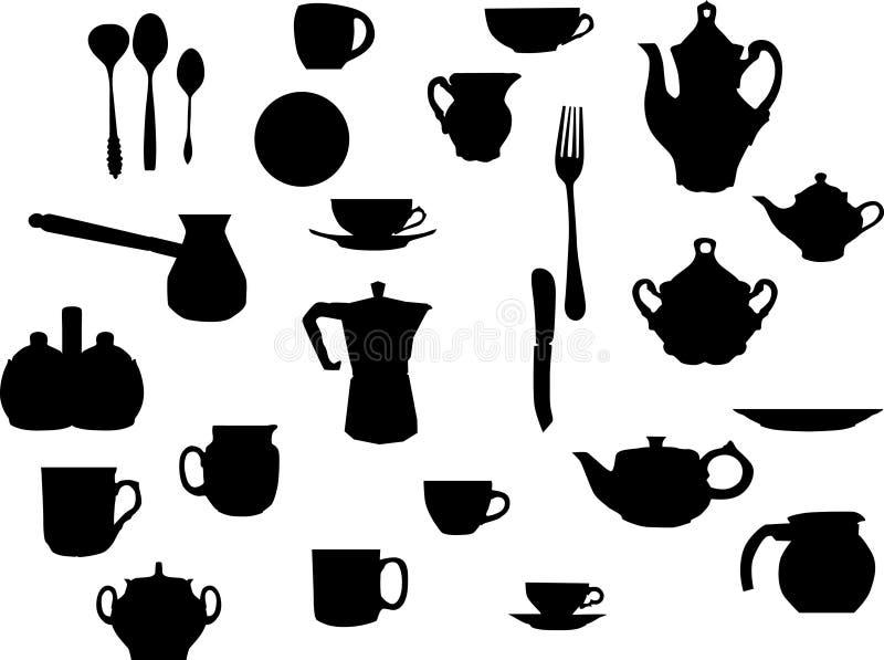 Dishware del coffe e del T illustrazione vettoriale
