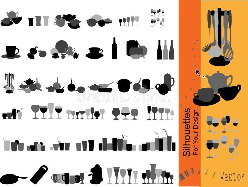 Dishware dell'accumulazione di vettore illustrazione vettoriale