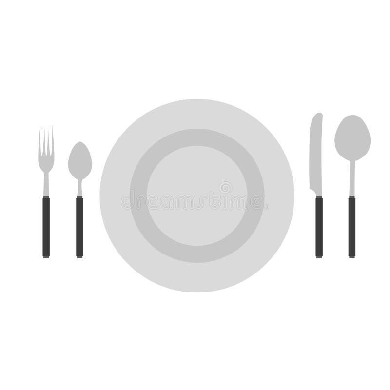 Dishware för lunch för mat för mål för restaurang för kök för sked för vektor för bestickuppsättninggaffel kniv isolerad royaltyfri illustrationer