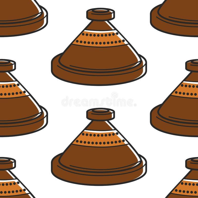 Dishware för marockansk krukmakeri för krukmakeri för lerakruka handgjord sömlös royaltyfri illustrationer