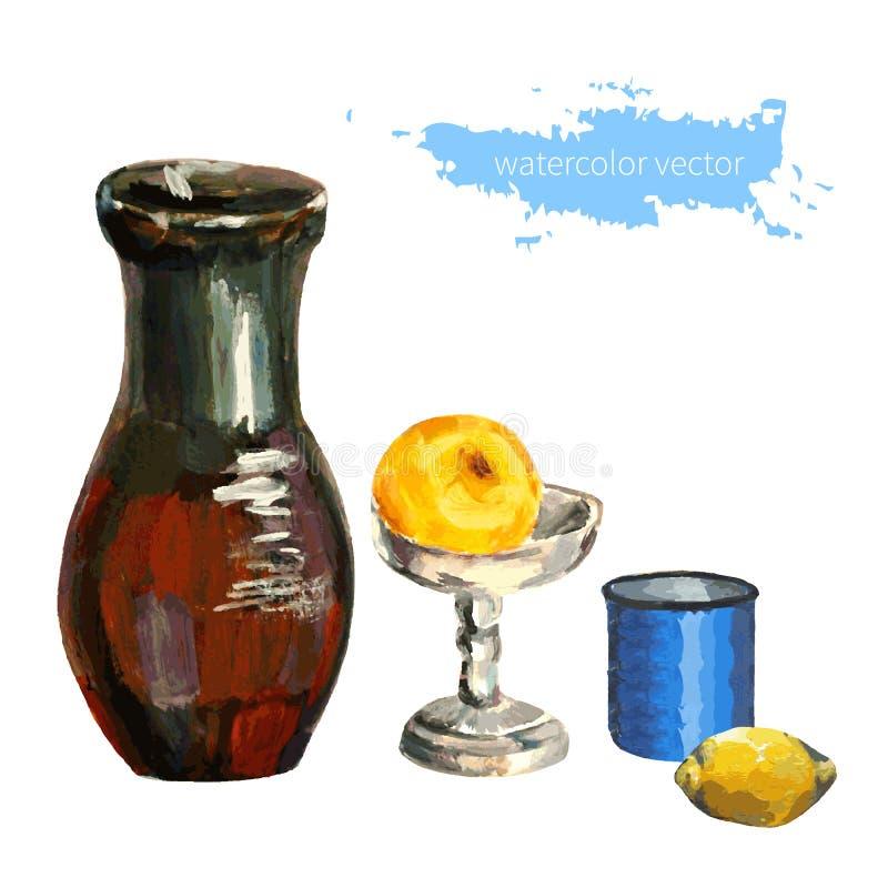 Dishware frukt på vit bakgrund, dragen illustration för vektor hand för designtebjudningen, restaurang, kafémeny royaltyfri illustrationer