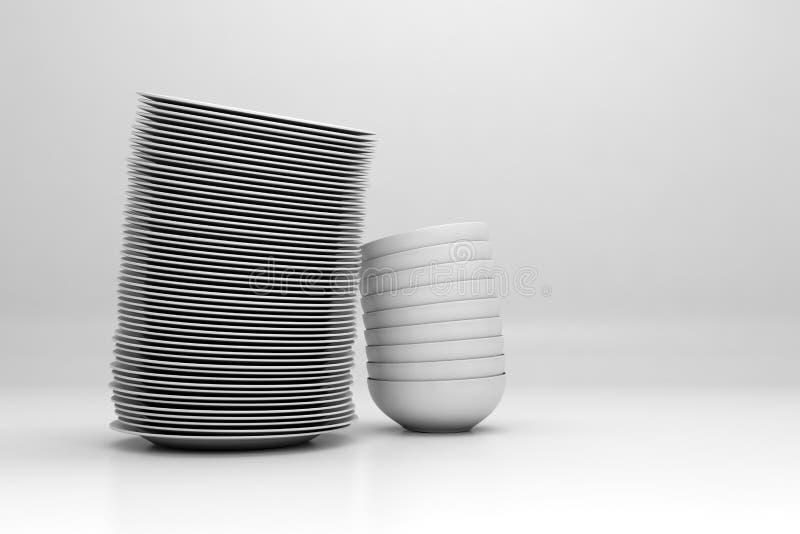 Dishware impilato su priorità bassa bianca illustrazione di stock