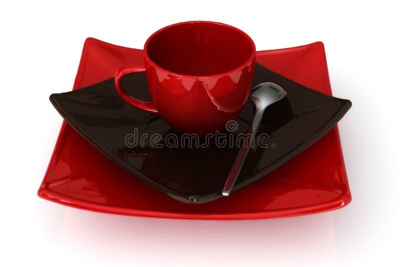 Dishware rosso illustrazione vettoriale