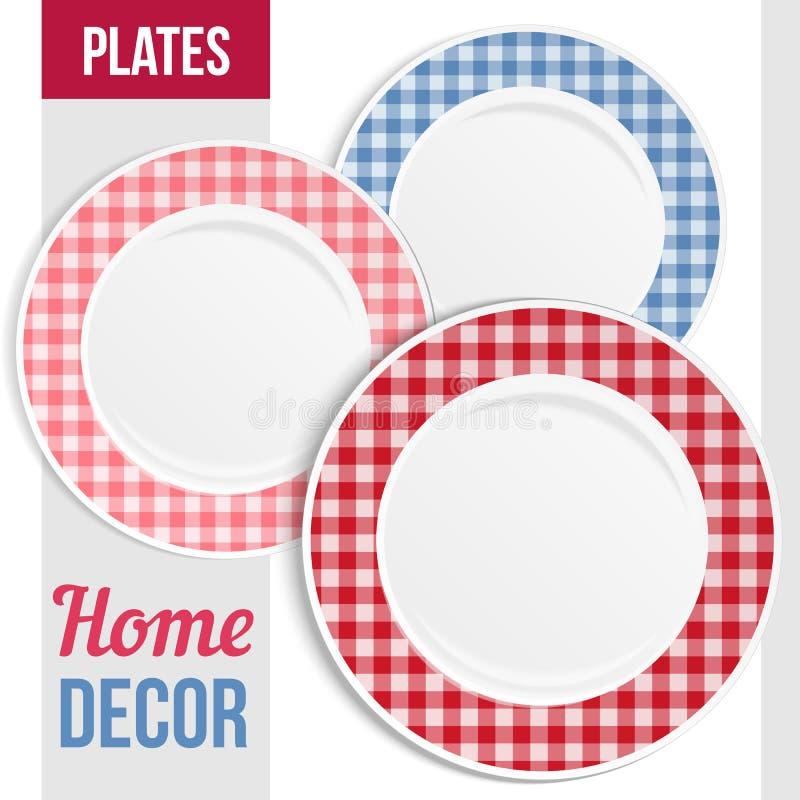 Dishware set, trzy talerzy dekoracyjny projekt ilustracji