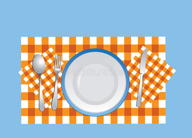 Download Dishware On The Tablecloth In Vector Stock Vector - Image: 8119346