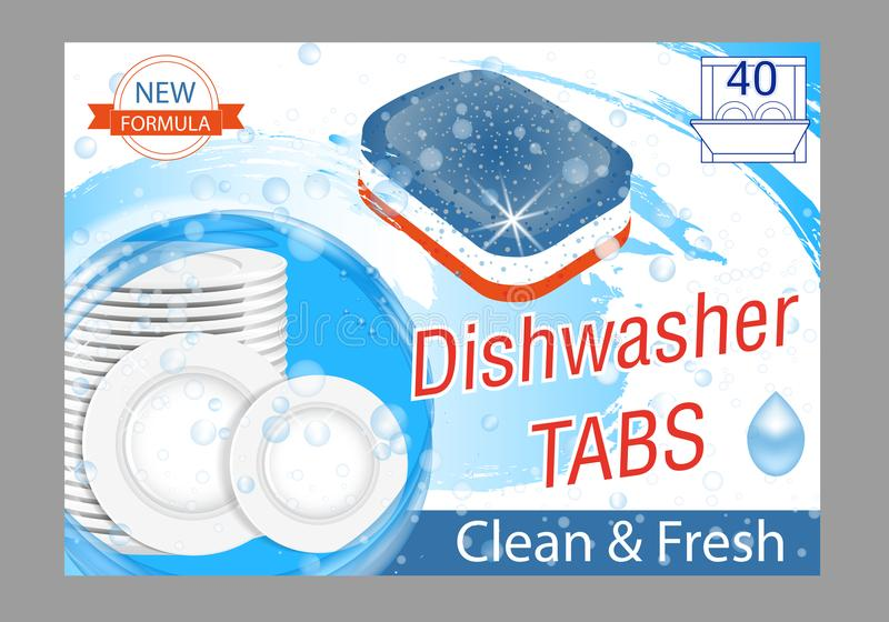 Dishwasher detergent tabs. Realistic illustration with plates in water splash and bubbles. Dish wash advertisement poster layout. Vector illustration royalty free illustration