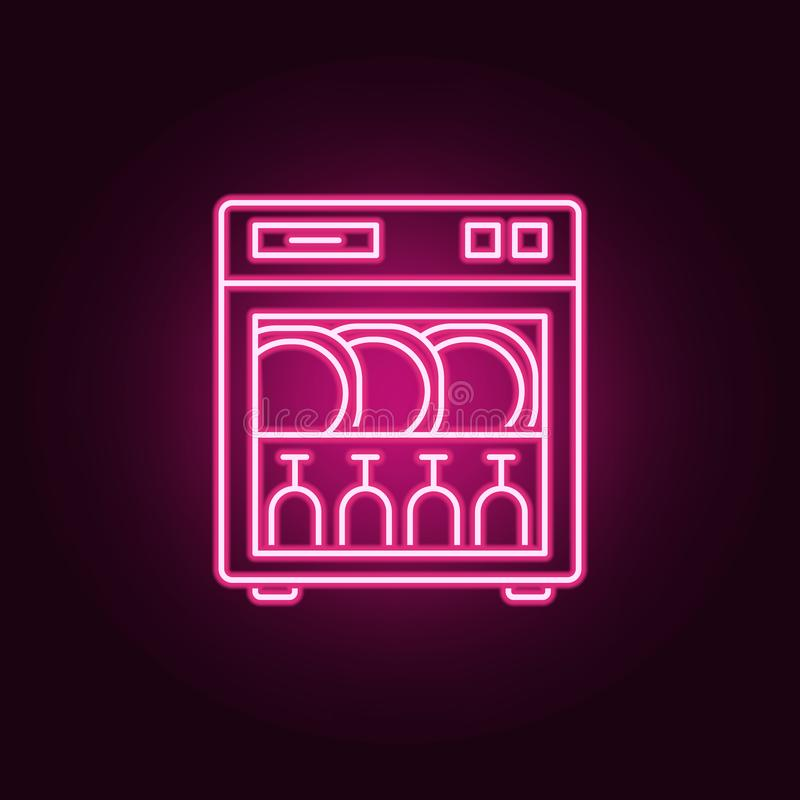 Dishwasher line neon icon. Elements of Kitchen set. Simple icon for websites, web design, mobile app, info graphics. On dark gradient background vector illustration