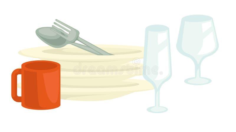 Dishwashing чистые блюда и стекла или ложка и вилка чашки иллюстрация вектора