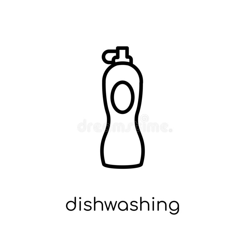 dishwashing detergent icon. Trendy modern flat linear vector dis vector illustration