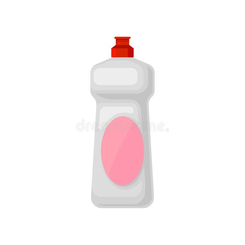 Dishwashing detergent plastic fles, huishouden die de chemische vectorillustratie van de productcontainer op een wit schoonmaken vector illustratie