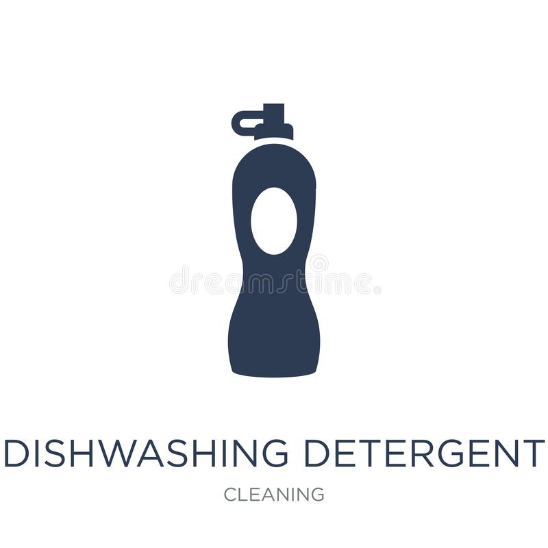 dishwashing detergentu ikona Modny płaski wektorowy dishwashing zniechęca ilustracja wektor