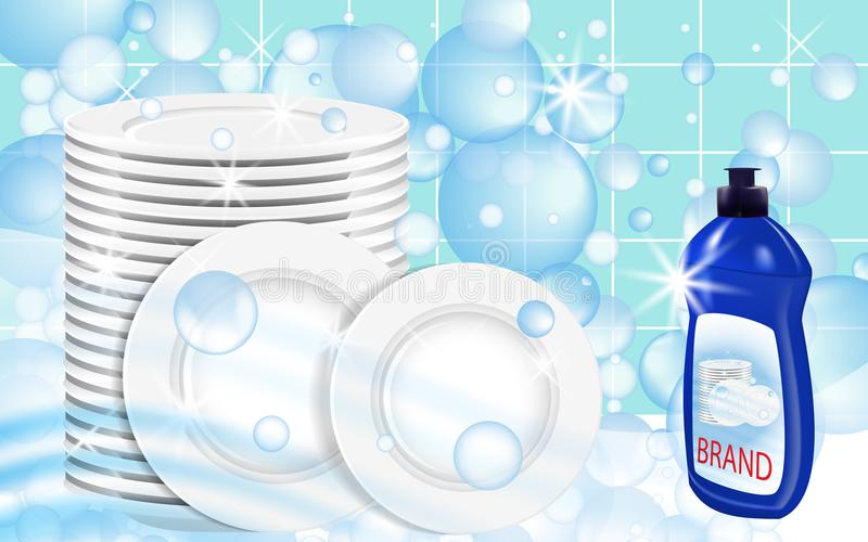 Dishwashing liquid products with plates stack. Bottle label design. Dish wash advertisement poster layout. Vector. Illustration stock illustration
