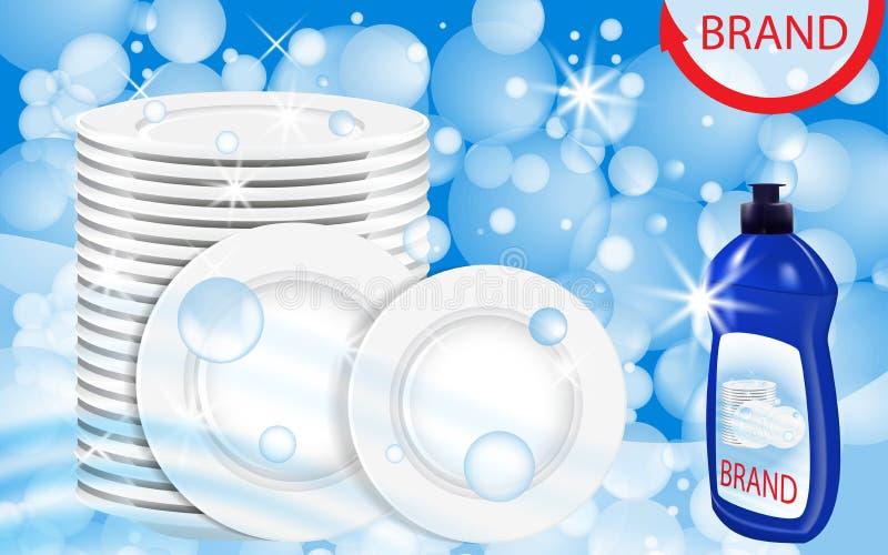 Dishwashing liquid products with plates stack. Bottle label design. Dish wash advertisement poster layout. Vector. Illustration royalty free illustration