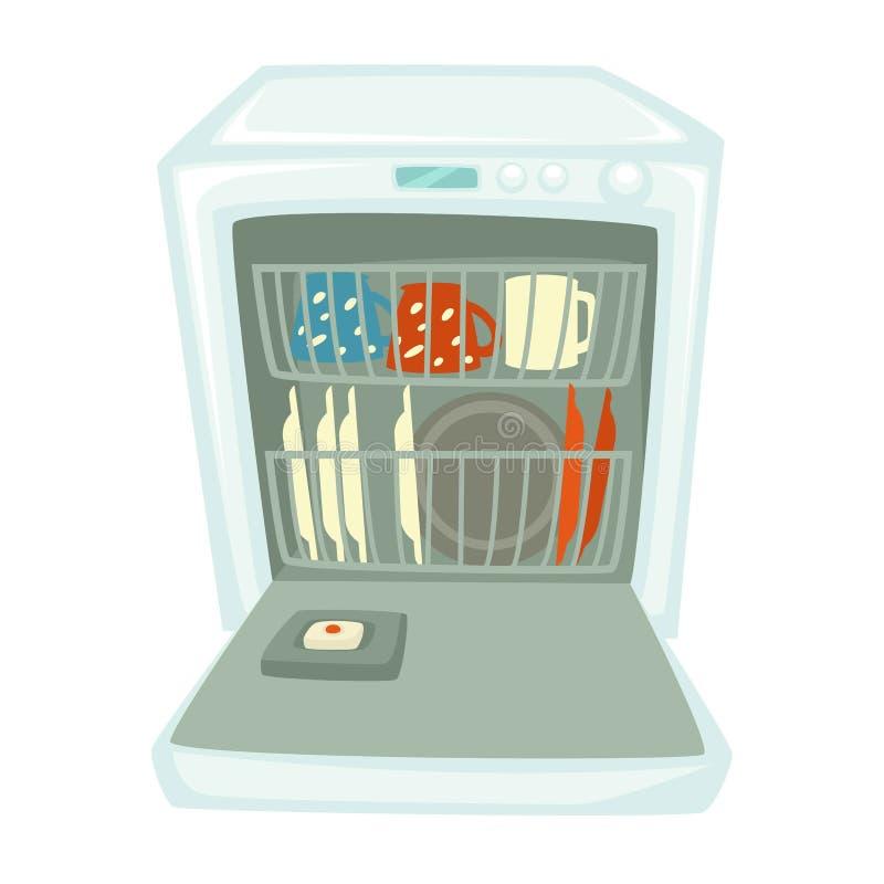 Dishwashing maszyna, zmywarkich do naczyń czyste filiżanki lub talerze i odizolowywaliśmy urządzenie royalty ilustracja