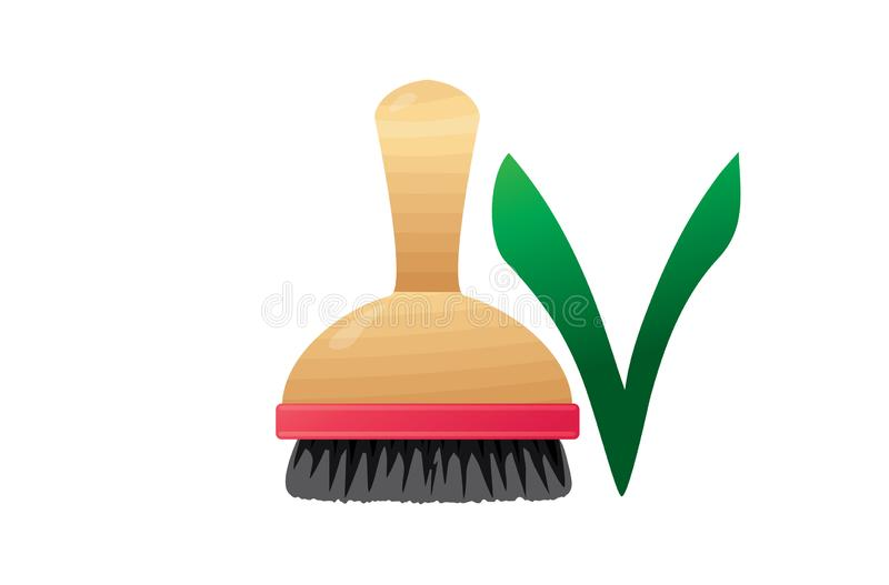 Dishwashing wooden natural brush. Zero plastic royalty free illustration
