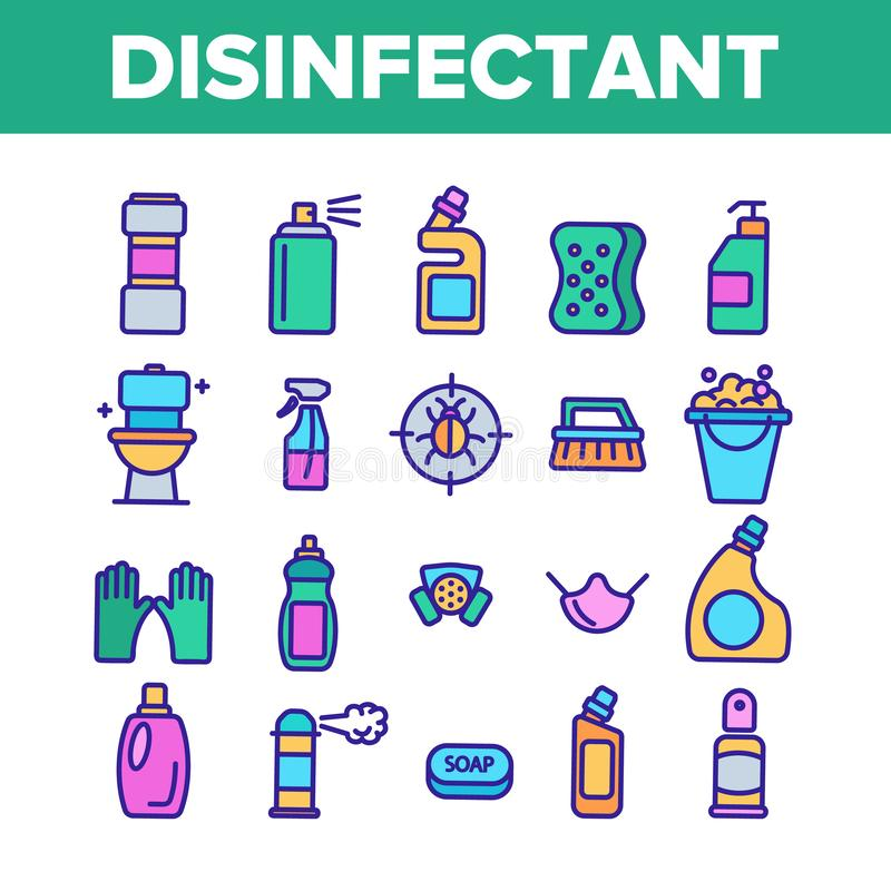 Disinfectant, Antibacterial Substance Vector Color Line Icons Set stock illustration
