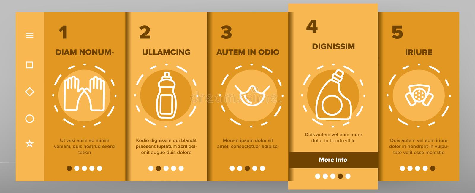 Disinfectant, Antibacterial Substance Vector Onboarding royalty free illustration